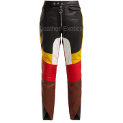 Color Block Women Leather Panelled Biker Trousers