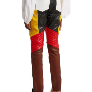Color Block Women Leather Panelled Biker Trousers back