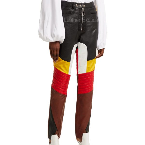 Color Block Women Leather Panelled Biker Trousersss