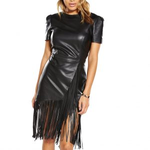 Fringed Detailing Women Leather Dress