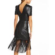 Fringed Detailing Women Leather Dress back