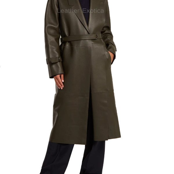 Lamb Skin Leather Women Belted Leather Coat