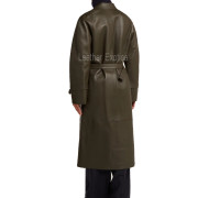 Lamb Skin Leather Women Belted Leather Coat back