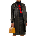Long Distressed Women Leather Coat