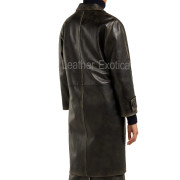 Long Distressed Women Leather Coatbac