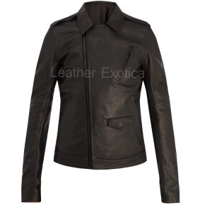 Point-Collar Men Leather Jacket