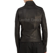 Point-Collar Men Leather Jacket back
