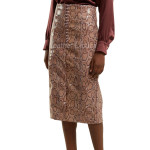 Python Print Women Leather Pencil Skirt
