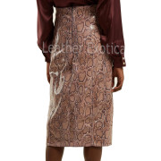 Python Print Women Leather Pencil Skirt back