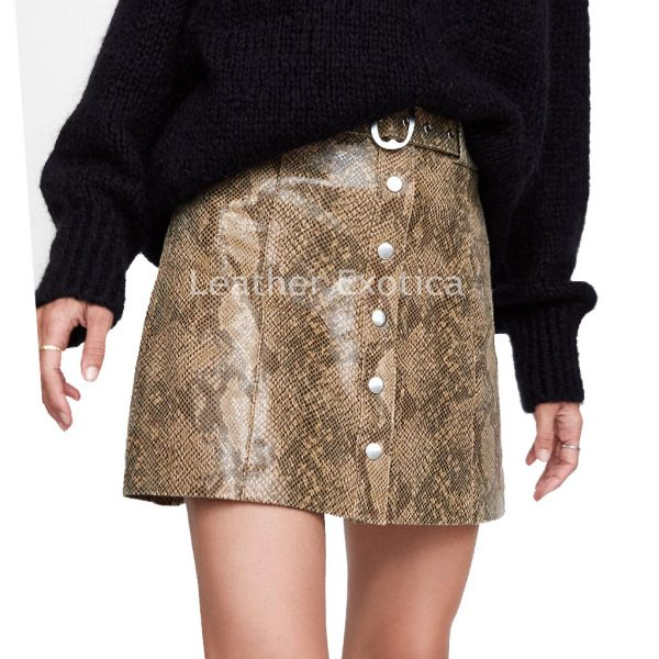 Snakeskin Print Leather Mini Skirt