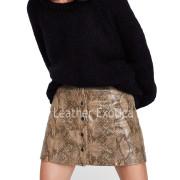 Snakeskin Print Leather Mini Skirtback