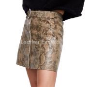 Snakeskin Print Leather Mini Skirts