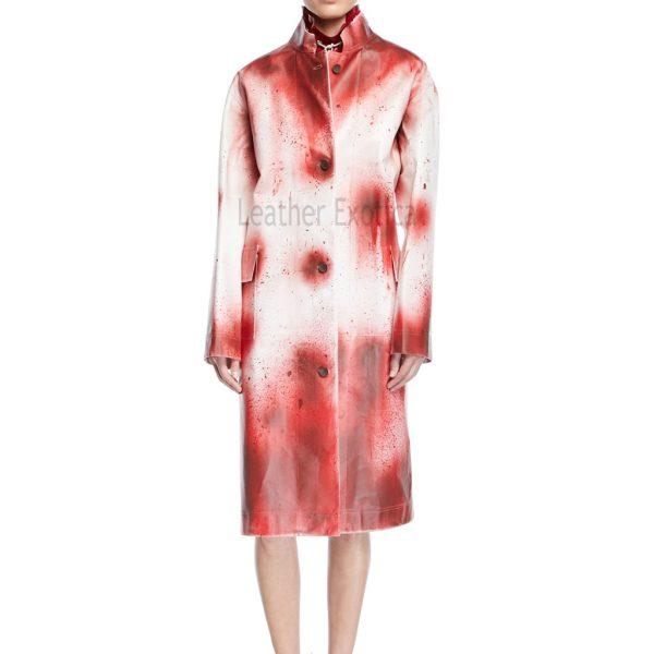 Splash-Paint Oversized Leather Coat For Women
