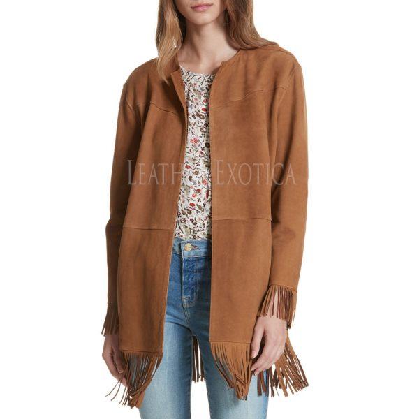 Winter Trend Fringe Trim Suede Coat