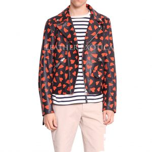 Hearts Print men Leather Jacket for Valantains