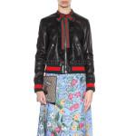 Ruffled Style Women Leather Bomber Jacket
