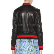 Ruffled Style Women Leather Bomber Jackets