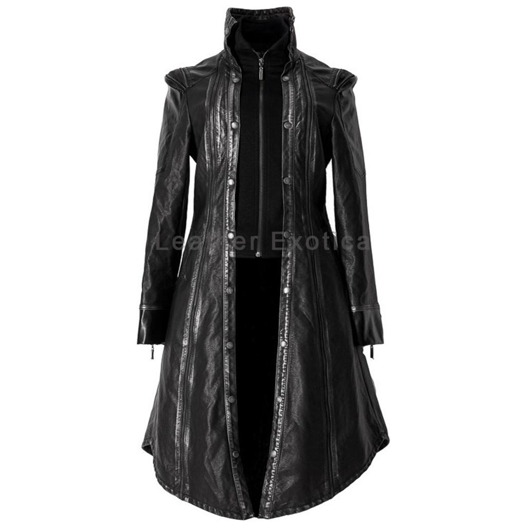 gothic design halloween women leather coat