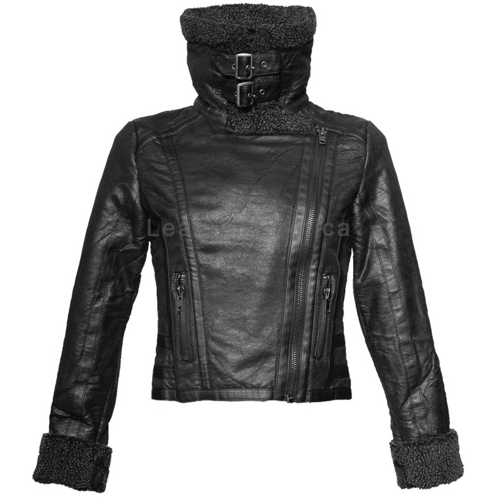 Synthetic Fur Collar Women Leather Jacket Leatherexotica
