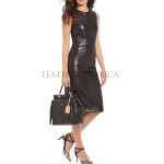 Classic Styled Women Mini Leather Dress