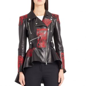Embroidered Leather Biker Jacket For Women
