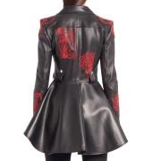 Embroidered Leather Biker Jacket For Women side