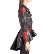 Embroidered Leather Biker Jacket For Womensss