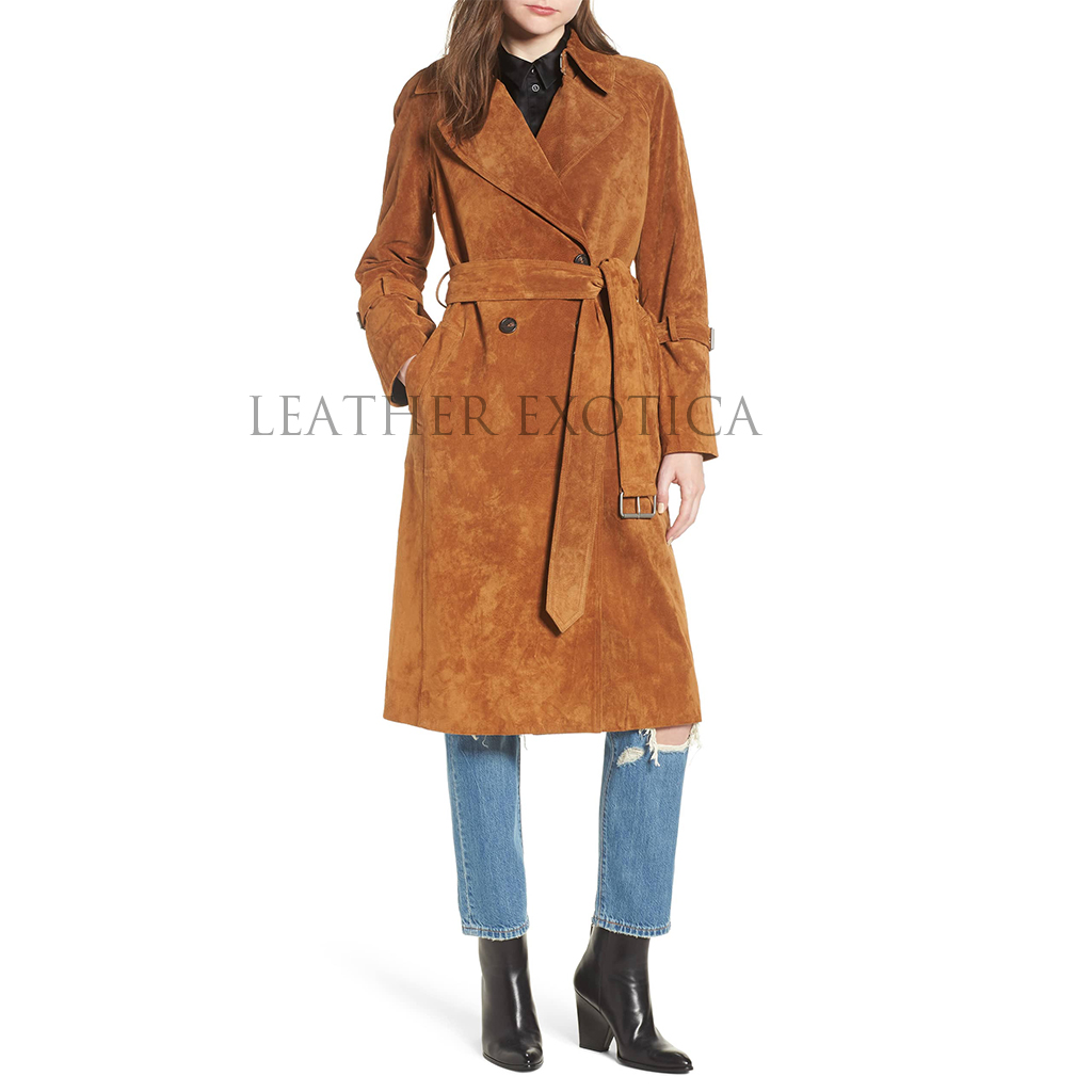 7c0dc6434bb Double Breasted Women Suede Leather Trench Coat