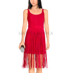 Fringe Detailed Women Red Leather Dress