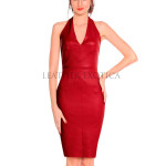 Classic Women Halter Neck Red Leather Dress