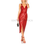 Trendy Corporate Styled Red Leather Dress