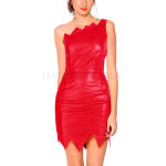 Scalloped Hem Women Red Leather Dress