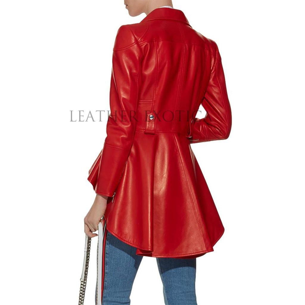 Notch Collar Peplum Red Women Leather Biker Jacket