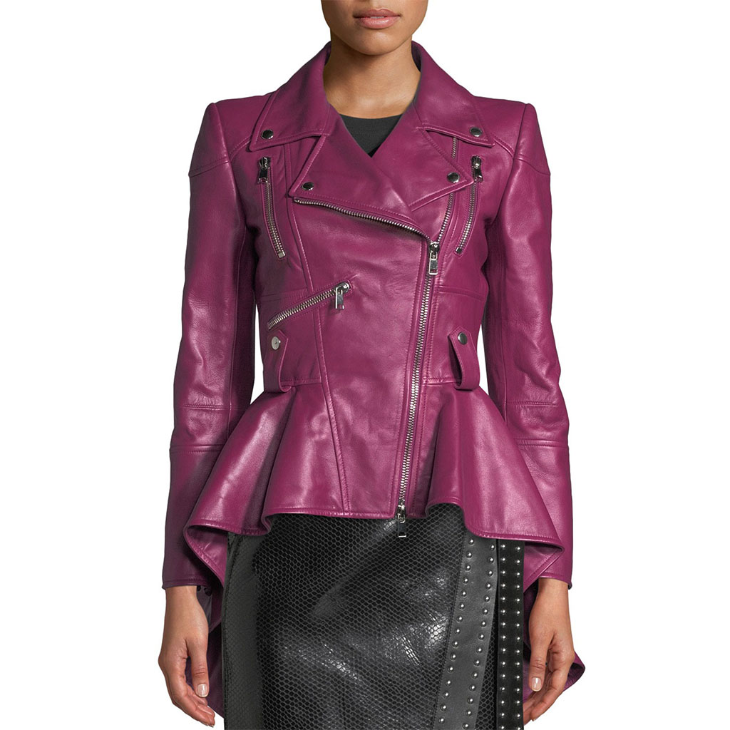 Best Motorcycle Jacket >> Notch Collar Peplum Red Women Leather Biker Jacket – Leatherexotica