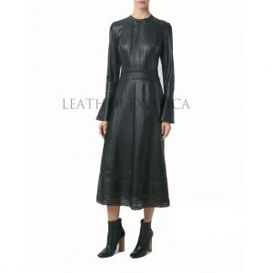 long leather dress