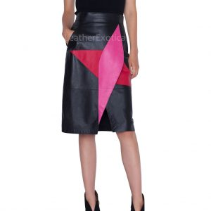 Color Block Style Patch Work Women Pencil Leather Skirt