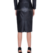 Color Block Style Patch Work Women Pencil Leather Skirt back