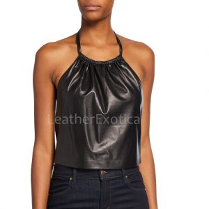 Cropped Length Women Leather Halter Top