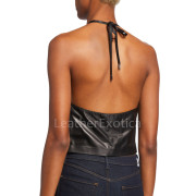 Cropped Length Women Leather Halter Top back