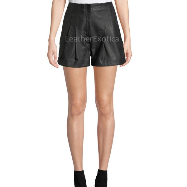 High-Rise Pleated Leather Shorts