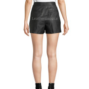 High-Rise Pleated Leather Shorts back