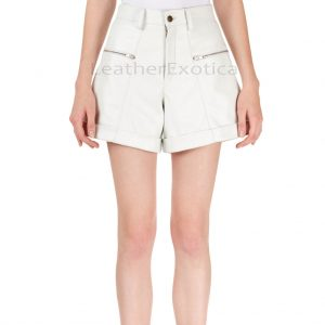 High-Waist Cuffed Women Leather Shorts