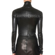Mock Neckline Women Bodycon Leather Top
