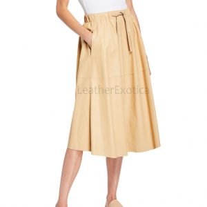 Pull-On Style Women Leather A-Line Skirt