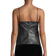 Sleeveless Leather Tank Top back