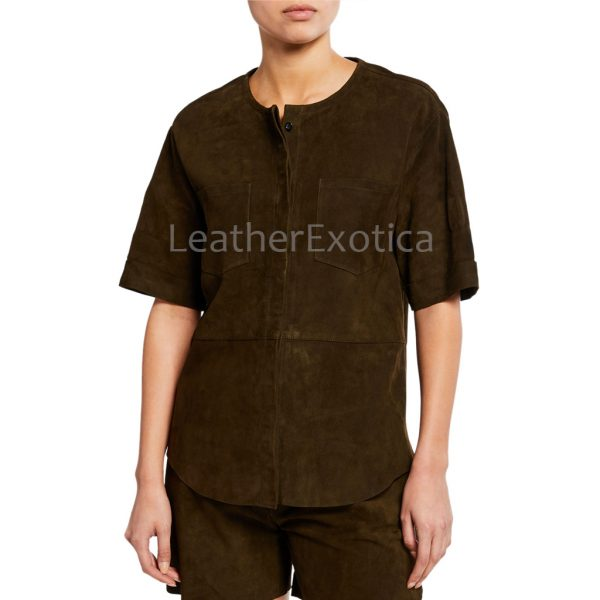 Suede Leather Patch-Pocket Tunic Top For Women