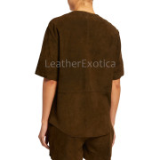 Suede Leather Patch-Pocket Tunic Top For Women  back