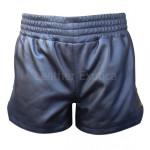 Black Leather Snap Side Boxer Shorts