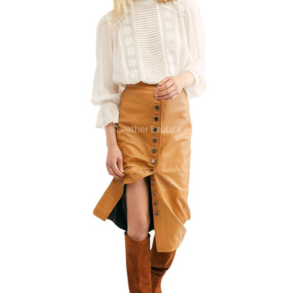 Button Front Women Leather Skirt