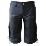 Cargo Style Men Black Leather Shorts